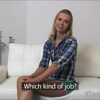 Casting HD First time creampie for hot blonde
