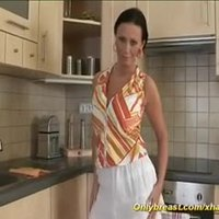 My sex busty mom alone in her kitchen