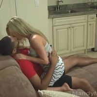 Petite Blonde Wife Taking BBC Creampie